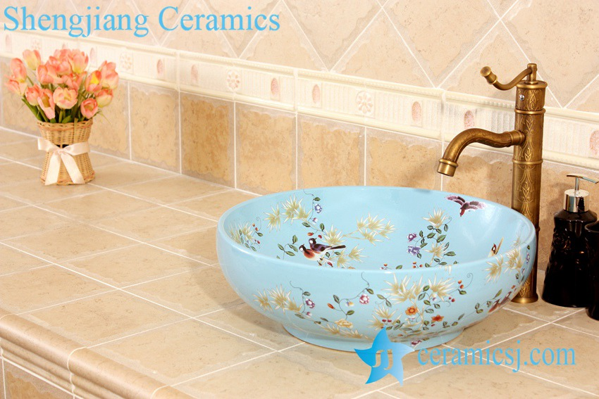 YL-C_5014 YL-C_4724 Colorful bird and flower art ceramic vanity top wash basin - shengjiang  ceramic  factory   porcelain art hand basin wash sink