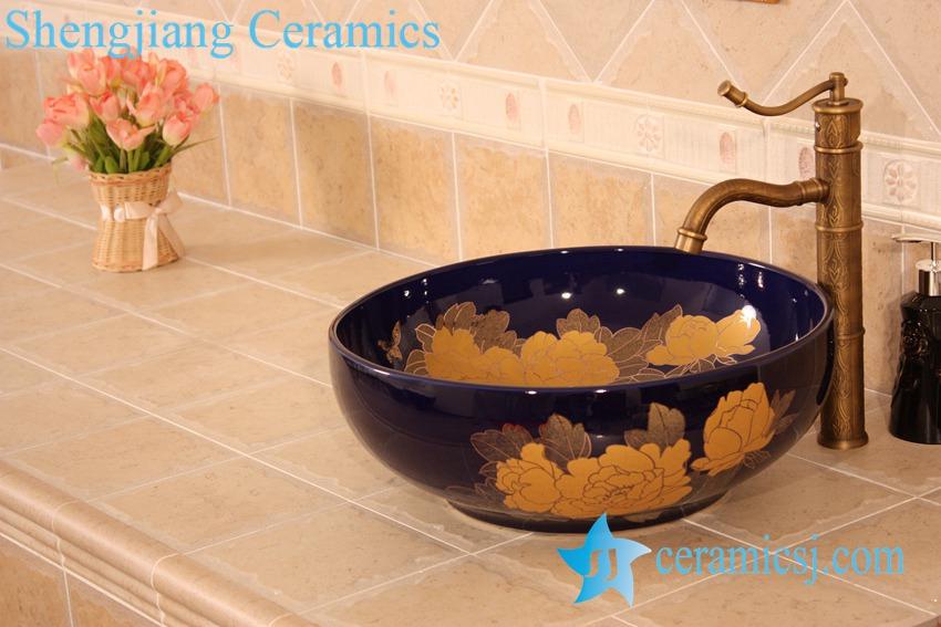 YL-C_5942 YL-C_5942 Craig blue glazed round porcelain wash basin sink Made in China - shengjiang  ceramic  factory   porcelain art hand basin wash sink