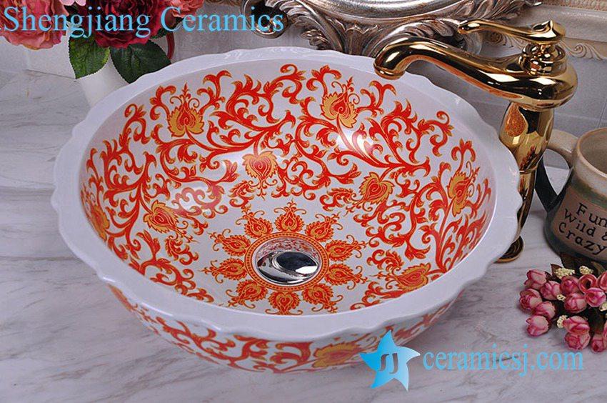 YL-C_8681 YL-C_8681 China Wholesale price wave edge sanitary ware sink basin - shengjiang  ceramic  factory   porcelain art hand basin wash sink