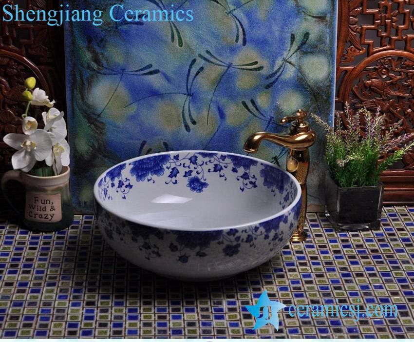 YL-E-1 YL-E-1 Fairy blue and white porcelain trough sink bowl table mount type - shengjiang  ceramic  factory   porcelain art hand basin wash sink