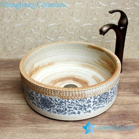 YL-E-2 Ripple engraving pottery style counter top round wash basin sink vaintiy