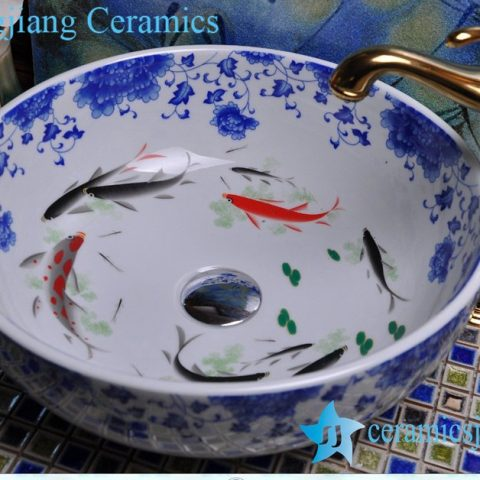 YL-E-5 Golden fish blue and white counter above ceramic wash basin sink bowl