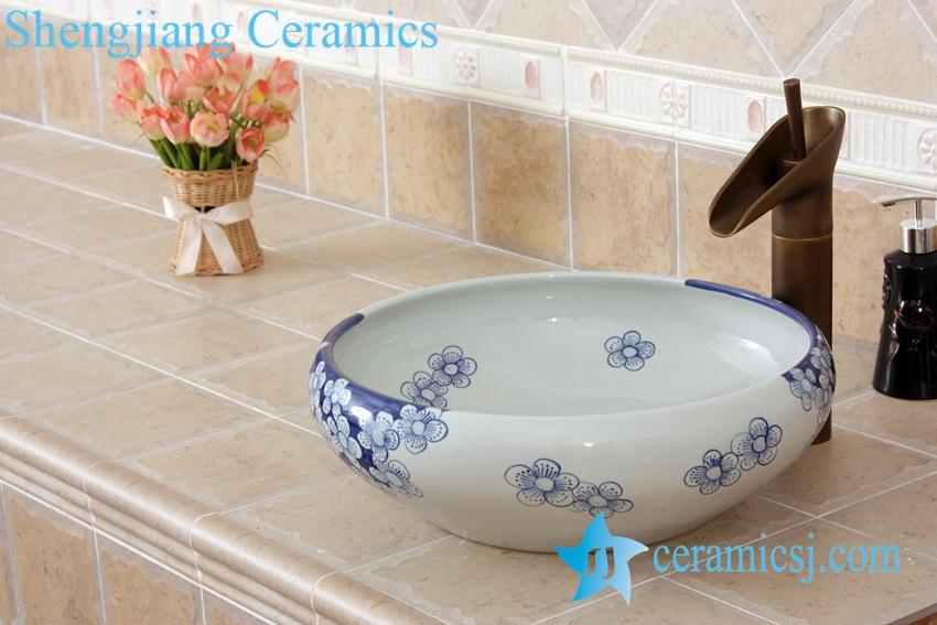 YL-E_5516 YL-E_5516 Chinese supplier freestanding blue and white wash basin - shengjiang  ceramic  factory   porcelain art hand basin wash sink