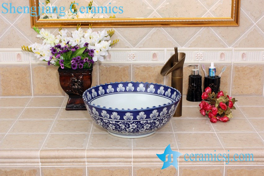 YL-E_5549 YL-E_5549 Big sink bowl wash basin blue and white porcelain material - shengjiang  ceramic  factory   porcelain art hand basin wash sink