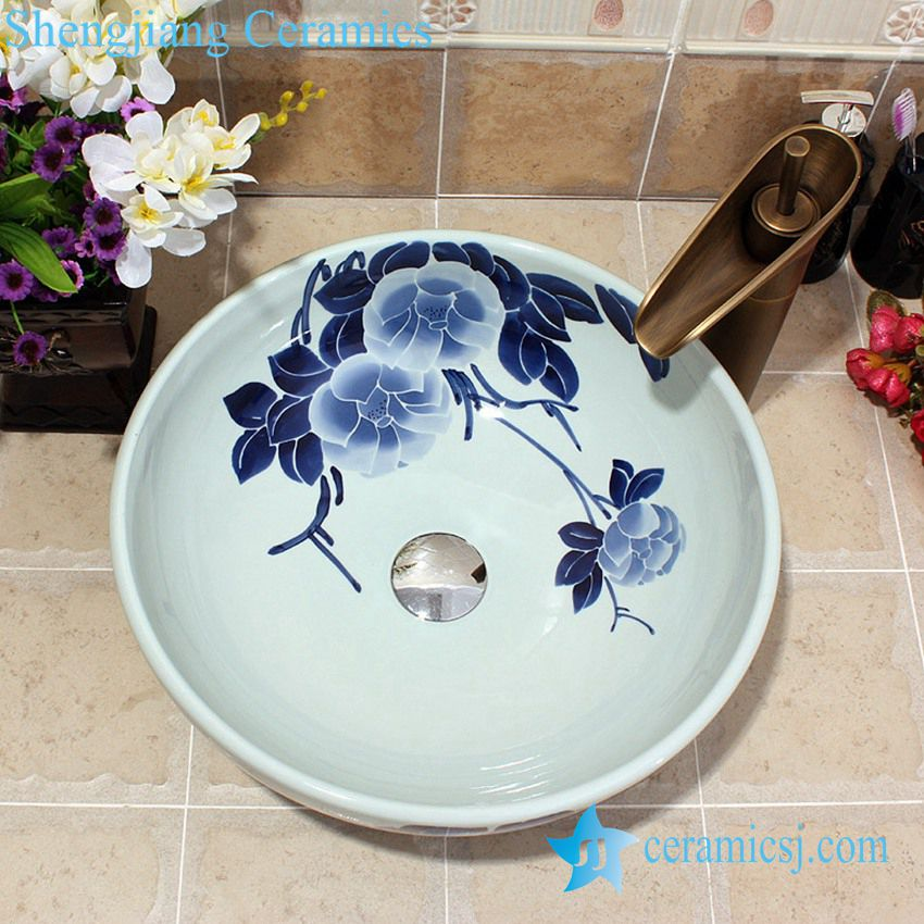 YL-E_5586 YL-E_5586 Chinese factory outlet blue and white porcelain counter top wash basin sink - shengjiang  ceramic  factory   porcelain art hand basin wash sink