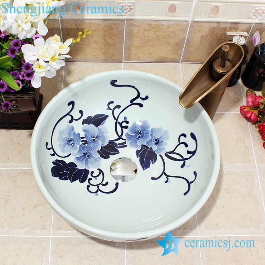 YL-E_5587 YL-E_5587 Chinese blue and white porcelain wash hand rinse sink for bathroom or toilet - shengjiang  ceramic  factory   porcelain art hand basin wash sink