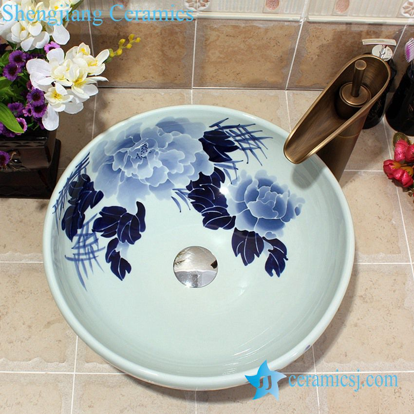 YL-E_5588 YL-E_5588 China oriental design blue and white porcelain vessel sink for indoor and outdoor - shengjiang  ceramic  factory   porcelain art hand basin wash sink
