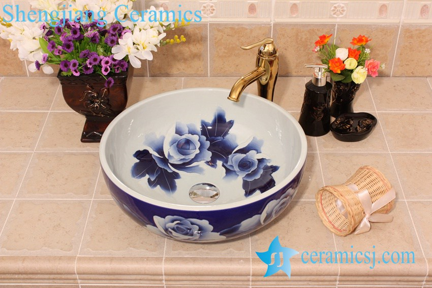 YL-E_6442 YL-E_6442 Blue and white elegant porcelain vanity top corner sink bowl - shengjiang  ceramic  factory   porcelain art hand basin wash sink