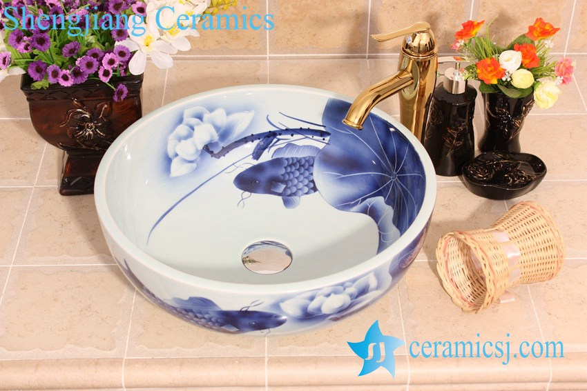 YL E_6649 Koi Fish With Lotus Flower Design Blue And White Freestanding  Table Top Vessel Sink Bowl