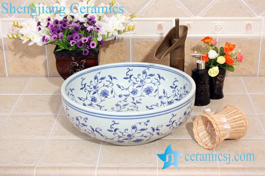 YL-E_7257 YL-E_7257 Round blue and white cabinet mount porcelain sink bowls - shengjiang  ceramic  factory   porcelain art hand basin wash sink