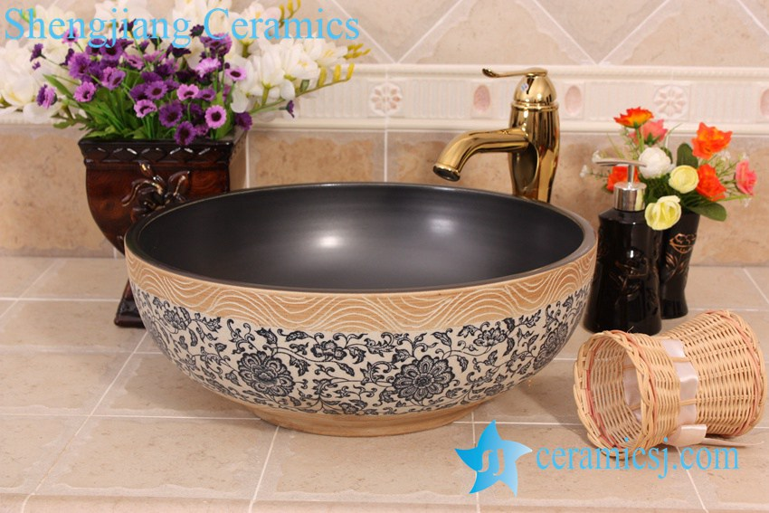 YL-E_7515 YL-E_7515 solid color inside interlock branch lotus flower outside counter abover round ceramic wash basin bowl - shengjiang  ceramic  factory   porcelain art hand basin wash sink