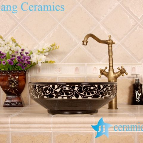 YL-G_4193 Elegant black solid color glaze hand carving round chinaware cabinet above sink basin bowl