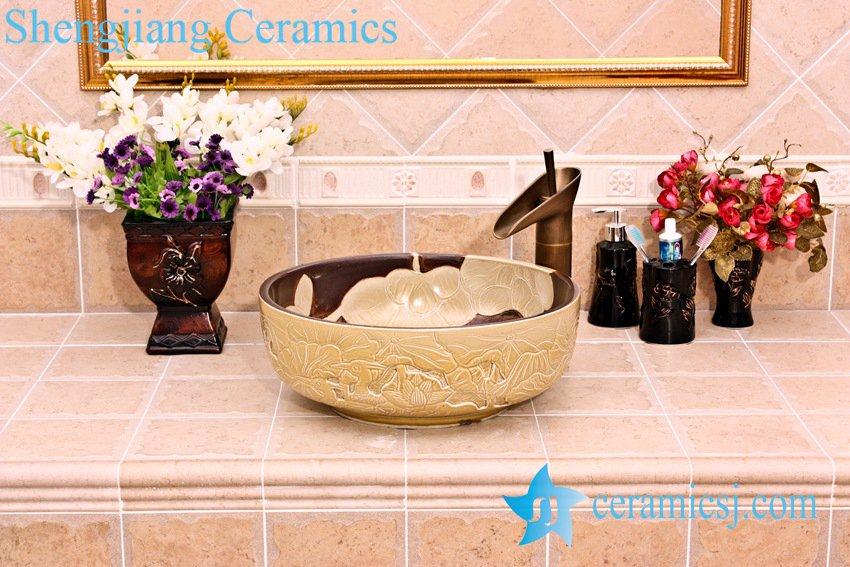 YL-G_5254 YL-G_5254 Luxury hand engraving ivory lotus flower design cabinet top wash basin sink - shengjiang  ceramic  factory   porcelain art hand basin wash sink