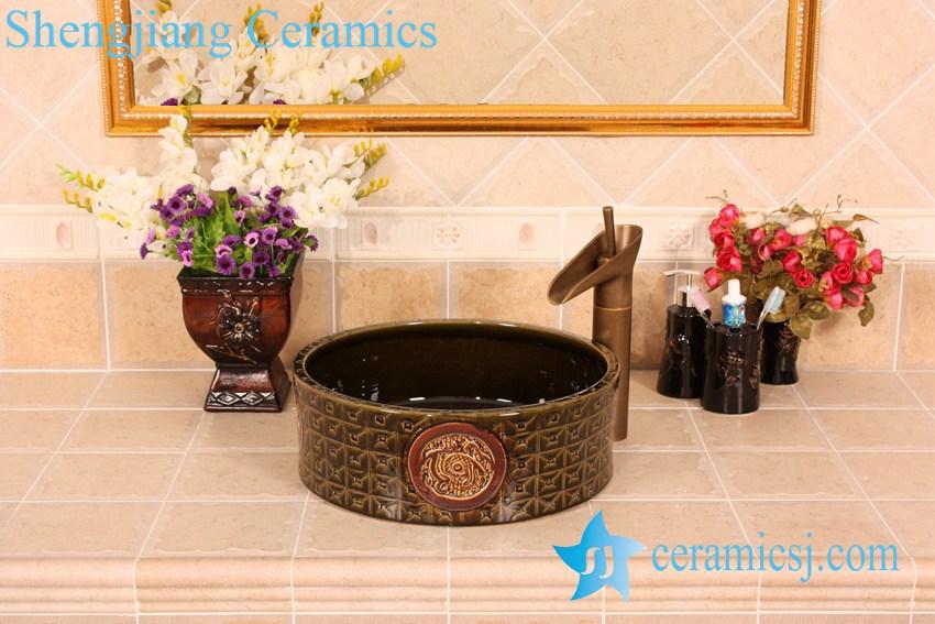 YL-G_5382 YL-G_5382 Solid color glazed unique engraving round vanity above ceramic sink for bathroom outdoor kitchen hotel - shengjiang  ceramic  factory   porcelain art hand basin wash sink