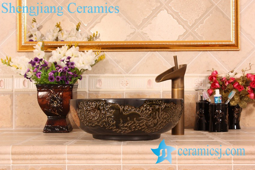YL-G_5401 YL-G_5401 Solid color glazed ceramic chinaware counter top wash hand rinse - shengjiang  ceramic  factory   porcelain art hand basin wash sink