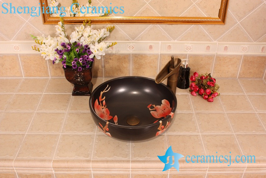 YL-G_5435 YL-G_5435 Matt finished black solid color ceramic cabinet top sink basin - shengjiang  ceramic  factory   porcelain art hand basin wash sink