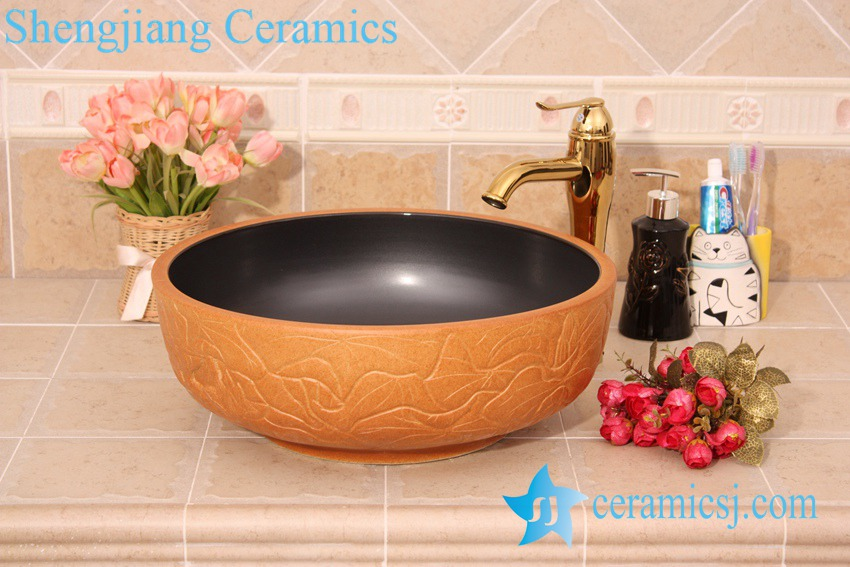 YL-G_6201 YL-G_6201 Black solid color inside and hand engraving lotus leaf outside round thicken wall ceramic sink basin bowl - shengjiang  ceramic  factory   porcelain art hand basin wash sink