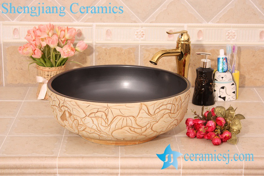 YL-G_6202 YL-G_6201 Black solid color inside and hand engraving lotus leaf outside round thicken wall ceramic sink basin bowl - shengjiang  ceramic  factory   porcelain art hand basin wash sink