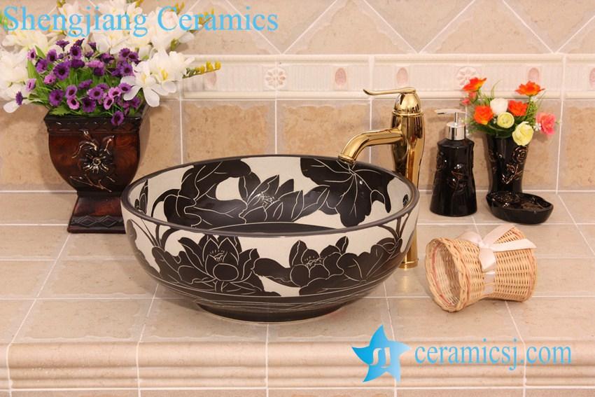 YL-G_6579 YL-G_6579 Black and white ceramic cabinet mount bathroom corner sink - shengjiang  ceramic  factory   porcelain art hand basin wash sink