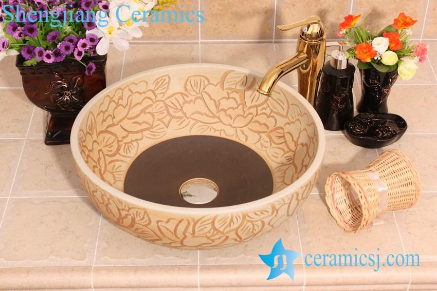 YL-G_6671 YL-G_6671 Fancy matt finished hand carving lotus flower design ceramic sink basin - shengjiang  ceramic  factory   porcelain art hand basin wash sink