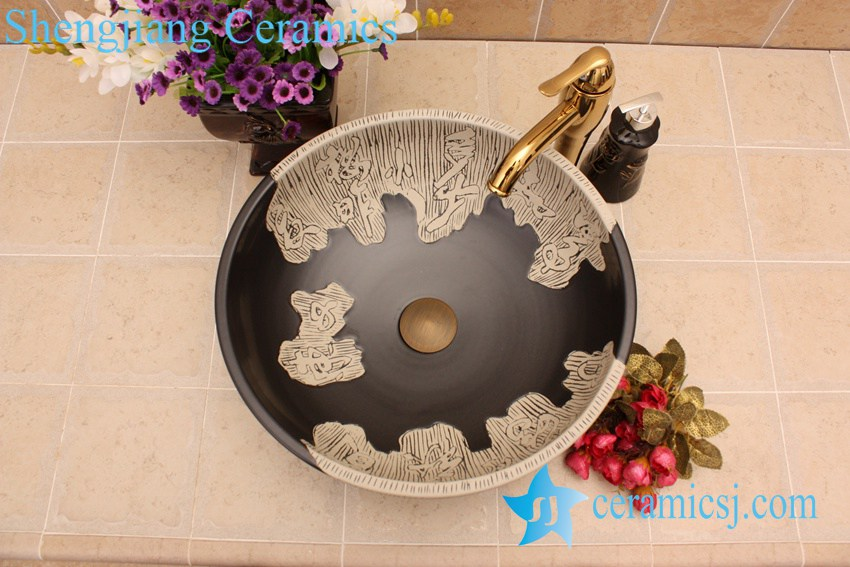 YL-G_7088 YL-G_7088 Factory outlet decorative black round ceramic shampoo sink - shengjiang  ceramic  factory   porcelain art hand basin wash sink