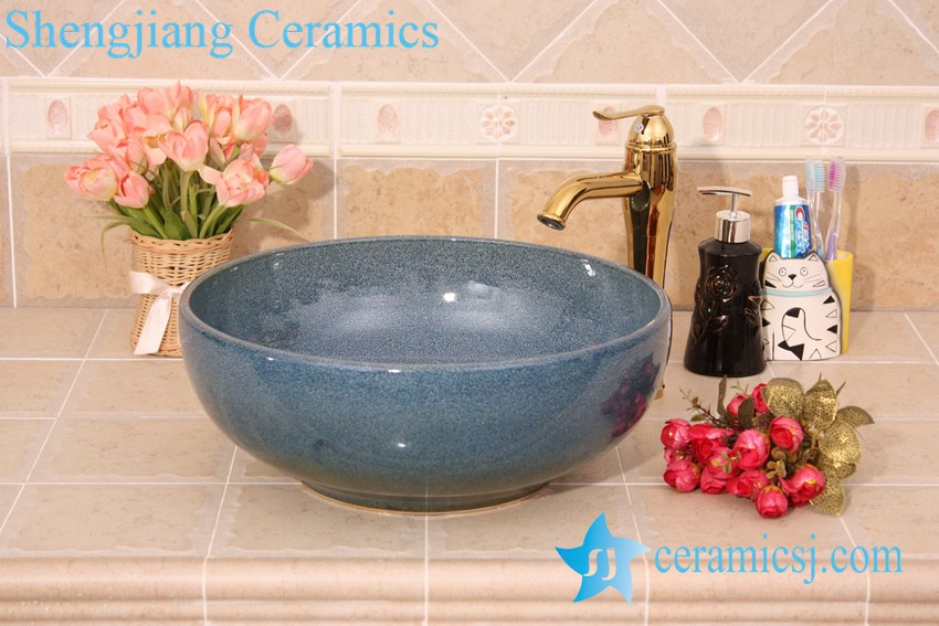 YL-H_6195 YL-H_6195 Fancy round blue cabinet top ceramic sink lavobo - shengjiang  ceramic  factory   porcelain art hand basin wash sink