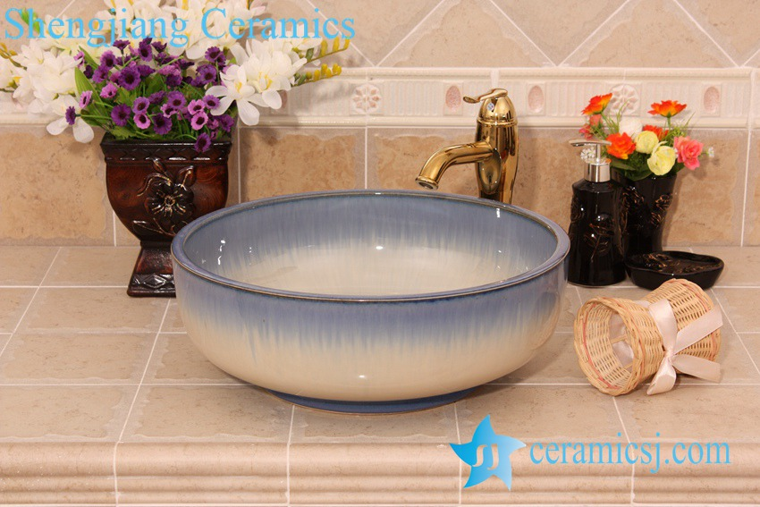 YL-H_6436 YL-H_6436 Thick layer fancy transmutation glazed hot sale decorative round shampoo sink - shengjiang  ceramic  factory   porcelain art hand basin wash sink