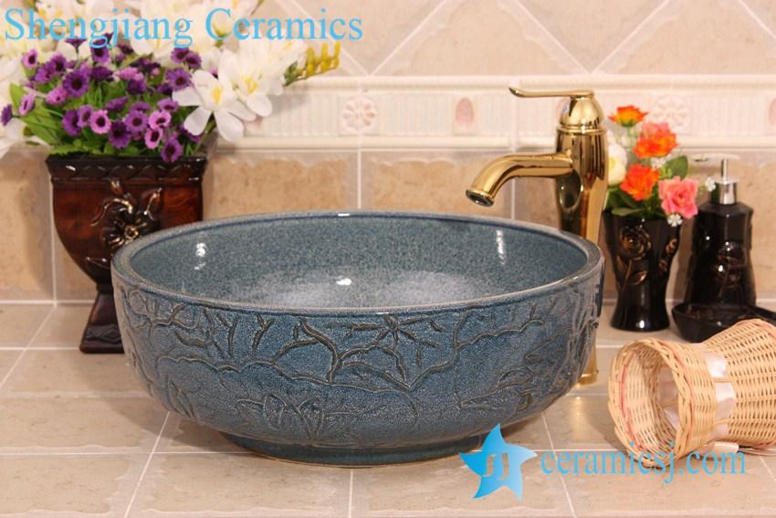 YL-H_6786 YL-H_6786 Hand carved lotus leaf round porcelain trough sink bowl - shengjiang  ceramic  factory   porcelain art hand basin wash sink