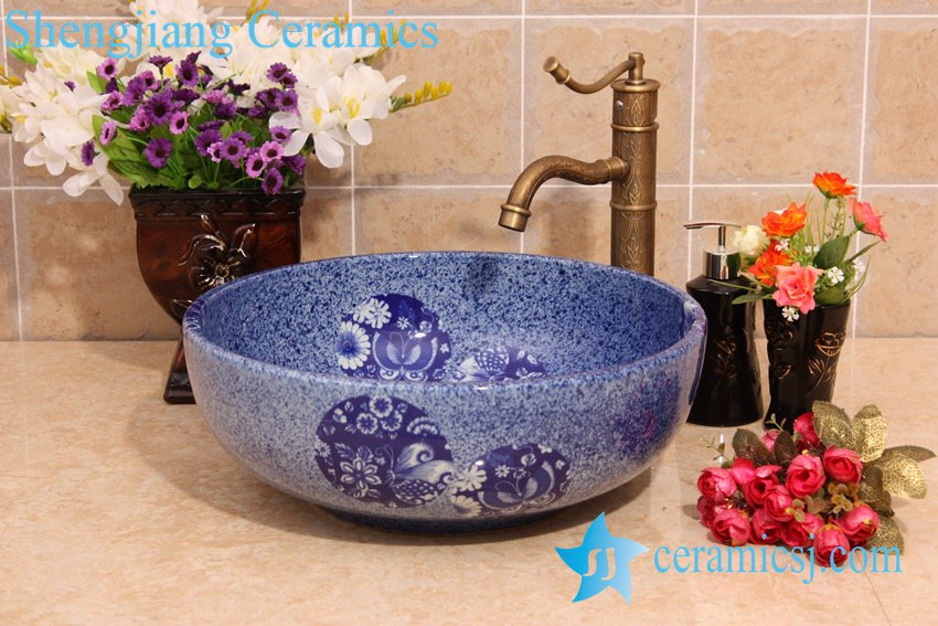YL-H_6920 YL-H_6920 Blue and white chinaware round cabinet top wash basin sink vanity - shengjiang  ceramic  factory   porcelain art hand basin wash sink