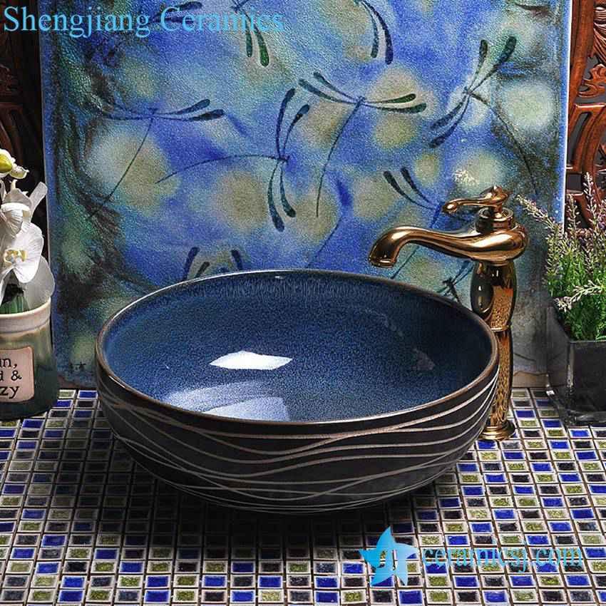 YL-H_7413 YL-H_7413 Wave line outside ocean blue inside round porcelain ceramic cabinet mount sink trough - shengjiang  ceramic  factory   porcelain art hand basin wash sink