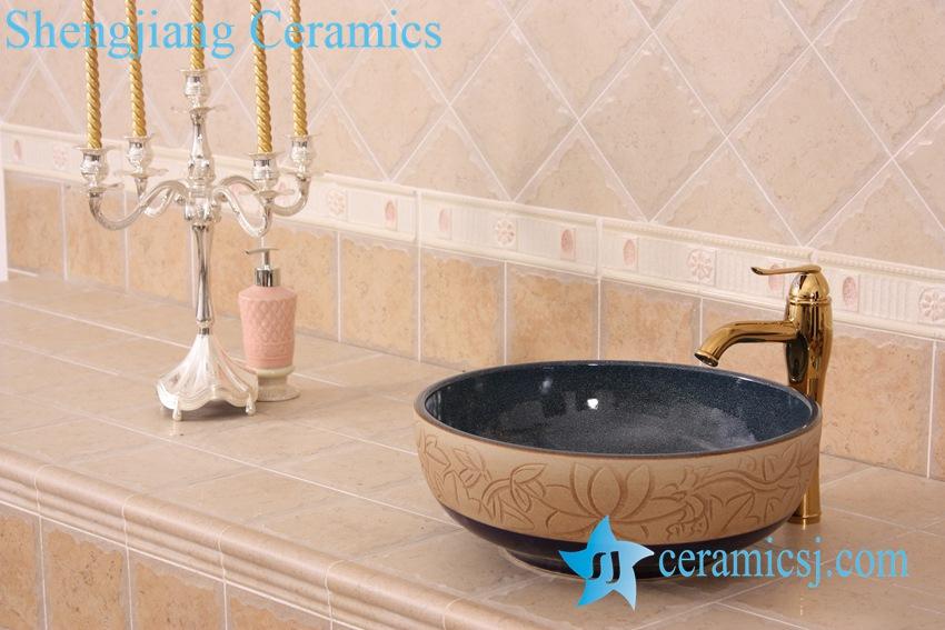 YL-H_7532 YL-H_7532 Hand carved no glazed outside dark blue glazed inside round ceramic chinaware corner bathroom sink - shengjiang  ceramic  factory   porcelain art hand basin wash sink