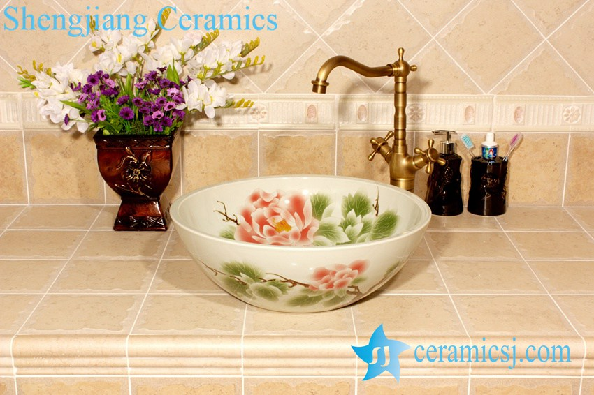YL-M_4002 YL-M_4002 Gorgeous peony flower design bathroom porcelain ceramic wash hand rinse - shengjiang  ceramic  factory   porcelain art hand basin wash sink