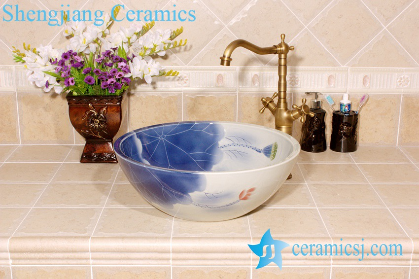 YL-M_4003 YL-M_4003 Fairy lotus and lotus seed design porcelain ceramic wash hand rinse sink trough for outdoor or bathroom - shengjiang  ceramic  factory   porcelain art hand basin wash sink
