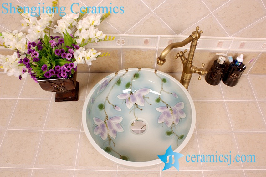 YL-M_4099 YL-M_4099 Hot sale elegant fancy flower design light blue Chinese bathroom sink colored sink - shengjiang  ceramic  factory   porcelain art hand basin wash sink
