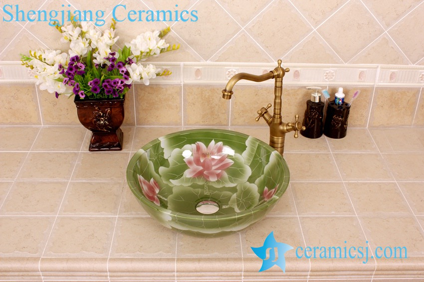 YL-M_4179 YL-M_4179 China ware vitreous finished green round porcelain corner sink - shengjiang  ceramic  factory   porcelain art hand basin wash sink