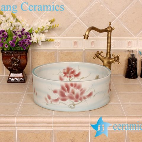 YL-M_4230 Fairy extravagant light blue chinaware round counter top wash basin rinse