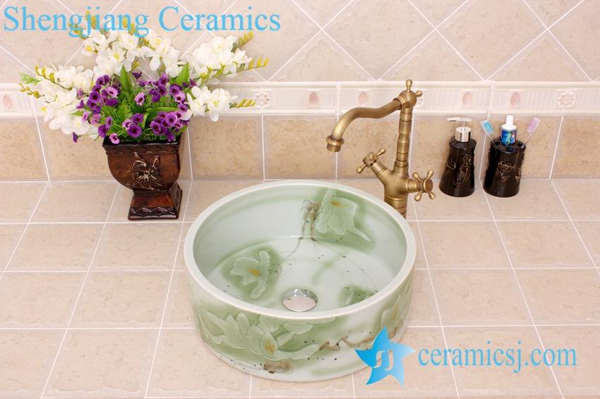 YL-M_4336 YL-M_4336 Round fancy light green floral design cabinet mount freestanding type wash basin sink - shengjiang  ceramic  factory   porcelain art hand basin wash sink