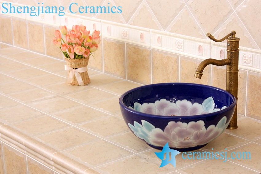 YL-M_5234 YL-M_5234 Deep blue round peony flower pattern ceramic table mount sink basin - shengjiang  ceramic  factory   porcelain art hand basin wash sink