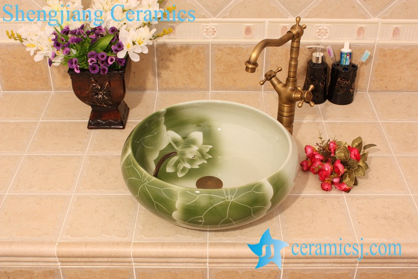 YL-M_5685 YL-M_5685 Green lotus and lotus leaf pattern round table above fountain basin - shengjiang  ceramic  factory   porcelain art hand basin wash sink