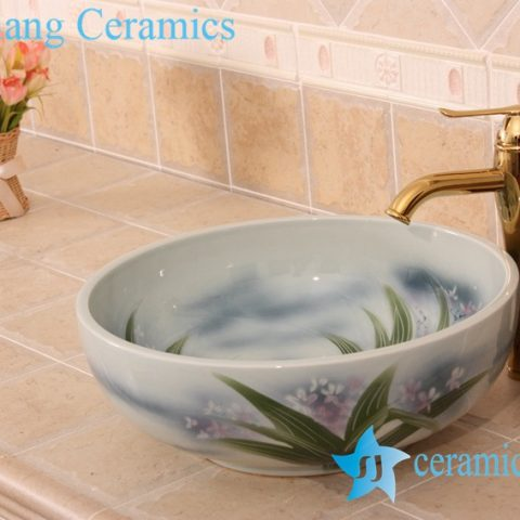 YL-M_6849 Orchid floral design round vanity top ceramic laundry sink basin
