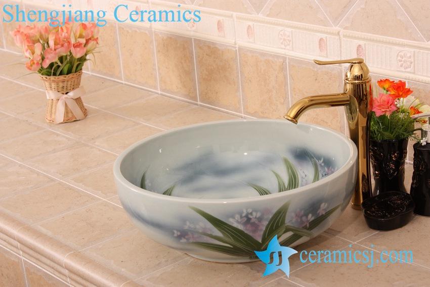 YL-M_6849 YL-M_6849 Orchid floral design round vanity top ceramic laundry sink basin - shengjiang  ceramic  factory   porcelain art hand basin wash sink