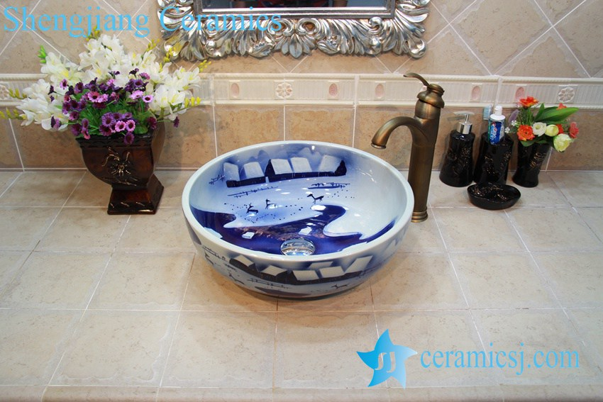 YL-OT_0644 YL-OT_0644 Merry chirstmas winter blue and white ceramic sink for bathroom - shengjiang  ceramic  factory   porcelain art hand basin wash sink