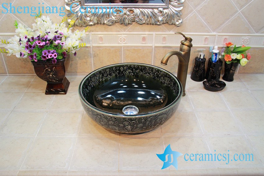 YL-OT_0651 YL-OT_0651 Hot sale shinny black round ceramic bathroom corner sink - shengjiang  ceramic  factory   porcelain art hand basin wash sink