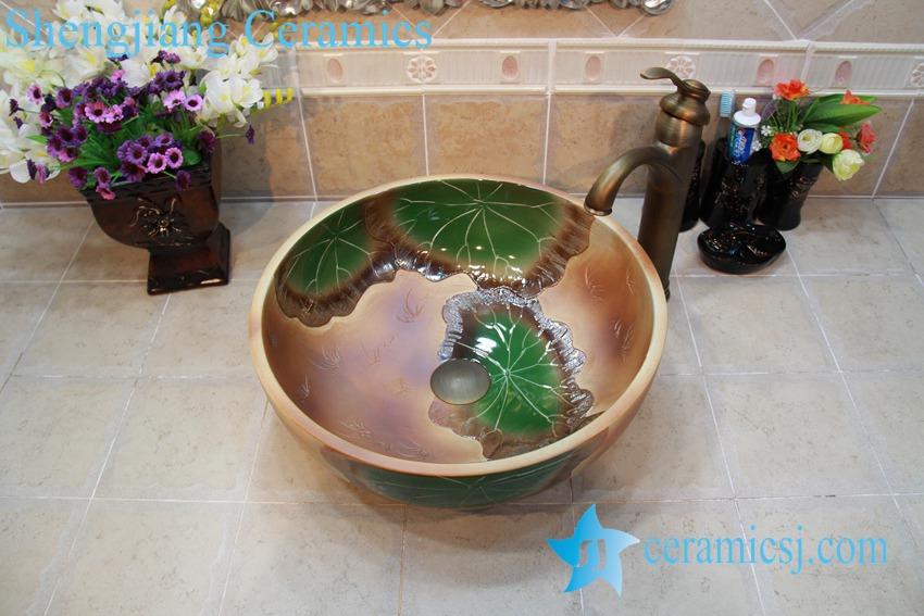 YL-OT_0734 YL-OT_0734 Thicken wall brown ceramic art stainless sink - shengjiang  ceramic  factory   porcelain art hand basin wash sink