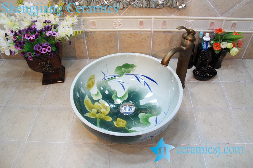 YL-OT_0738 YL-OT_0738 Thicken wall lotus ceramic sink basin - shengjiang  ceramic  factory   porcelain art hand basin wash sink