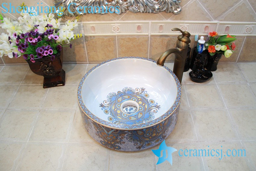 YL-OT_0752 YL-OT_0752 Morocoo style exotic gorgeous round wash basin sink bowl - shengjiang  ceramic  factory   porcelain art hand basin wash sink