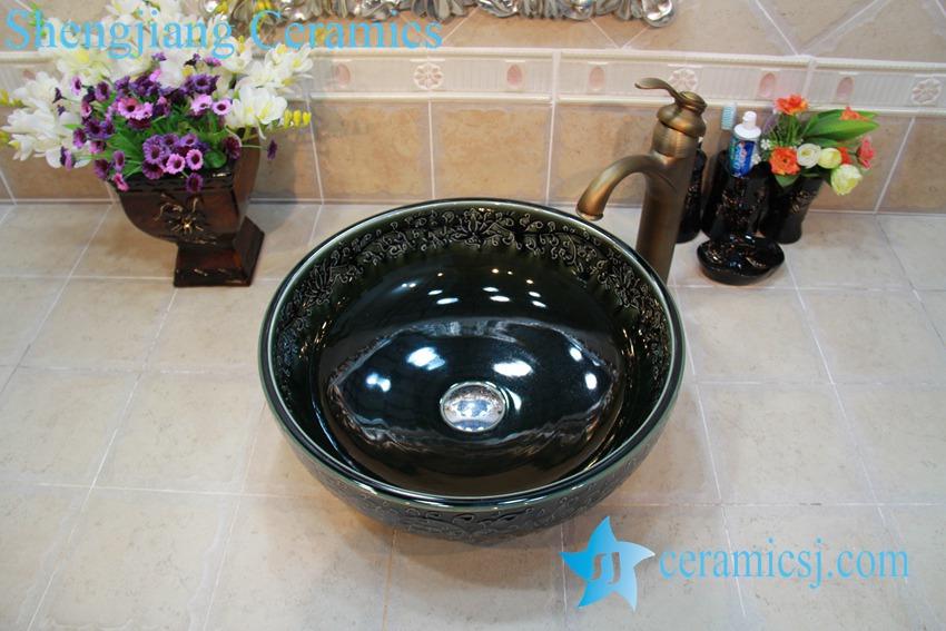 YL-OT_0764 YL-OT_0764 Easy cleaning ceramic black small kitchen sink - shengjiang  ceramic  factory   porcelain art hand basin wash sink