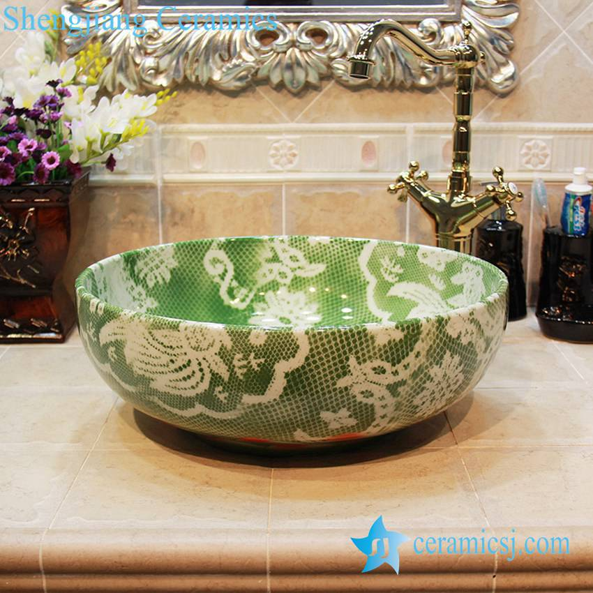 YL-OT_1659 YL-OT_1659 Green ceramic garden household basin - shengjiang  ceramic  factory   porcelain art hand basin wash sink
