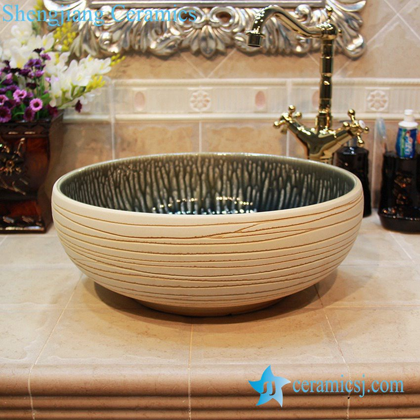 YL-OT_1665 YL-OT_1665 Ivory no glaze china ware surface folding washbasin - shengjiang  ceramic  factory   porcelain art hand basin wash sink