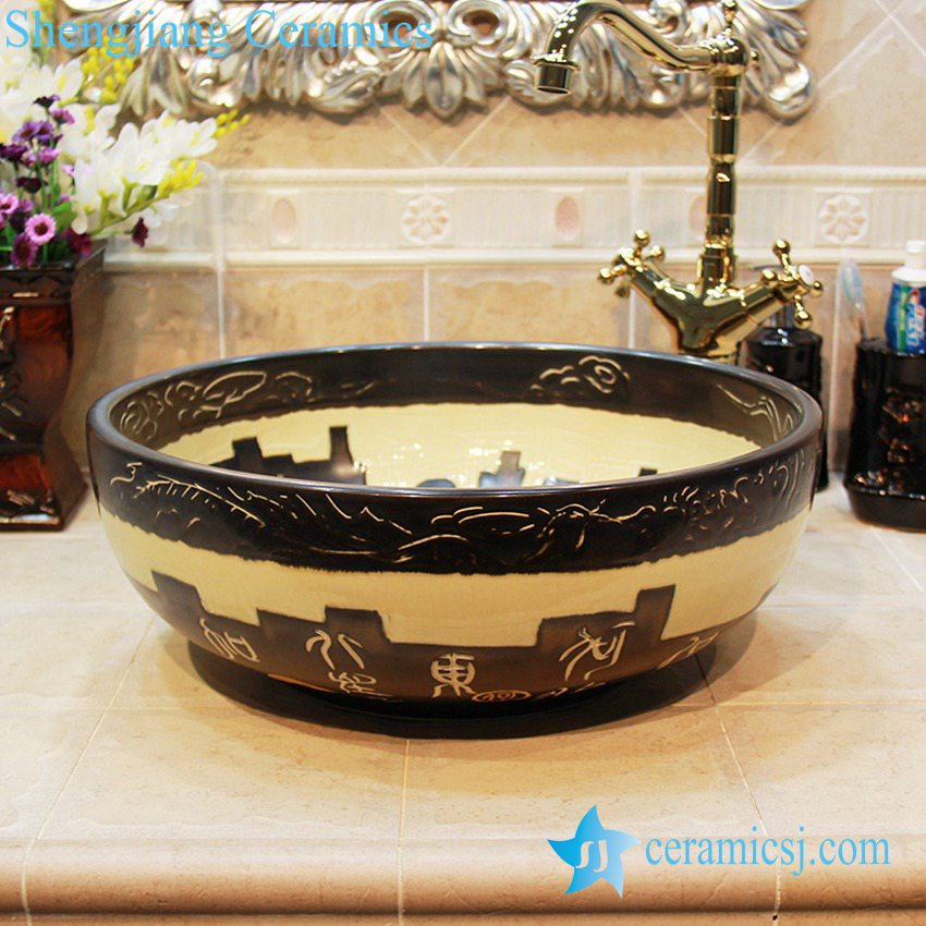 YL-OT_1667 YL-OT_1667 Black unique home depot bathrooms ceramic hand wash sink - shengjiang  ceramic  factory   porcelain art hand basin wash sink